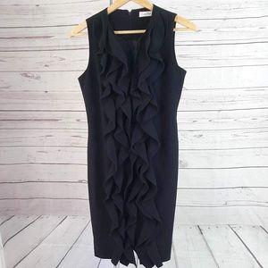 Calvin Klein black ruffle front sleeveless dress